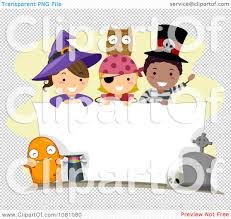 clipart halloween stick kids over a blank sign royalty free