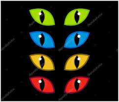 cat halloween background images halloween spooky eyes vector set isolated on black background