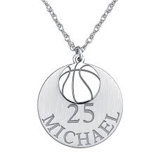 personalized basketball necklace personalized basketball 20mm pendant necklace jcpenney