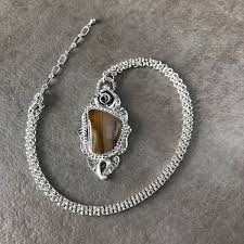 silver necklace with stone images Handmade agate sterling silver necklace by lizardi jewelry jpg