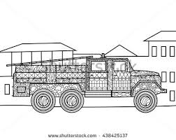 fire truck coloring book adults vector stock vector 437348398