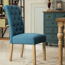 com roundhill furniture habit solid wood tufted parsons dining chair set of