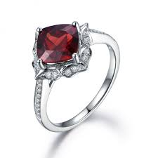 garnet halo diamond ring rose gold art deco ring women u0027s garnet