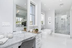 Carrara Marble Bathroom Countertops Master Bathroom With Handheld Shower Head U0026 Jet Shower Head In Los