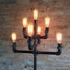 floor lamp multiple edison bulb industrial style iron pipe