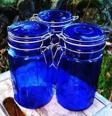 bohemian cobalt to clear cut glass biscuit barrel cookie jar