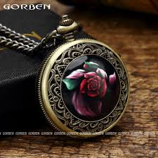 pocket watch chain necklace images 2017 antique rose pocket watch roman numerals dial quartz pocket jpg
