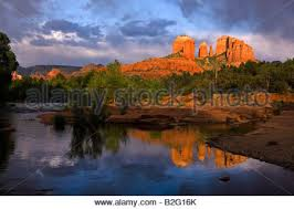 Cathedral Rock Reflections At Sunset Red Rock Crossing Cathedral Rocks From Oak Creek Canyon Red Rock Crossing Sunset