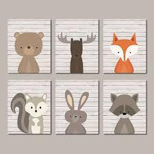 Woodland Animals Nursery Decor Boy Nursery Decor Woodland Nursery Prints Or Canvas Wall