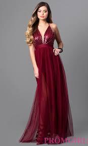 empire waist long v neck prom dress promgirl