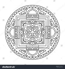 tibet ethnic mandalas elements outline drawing stock vector
