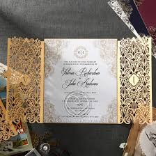 luxury wedding invitations gate fold gold card imperial style monogramed