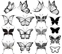black ink butterfly tattoos designs