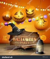 modern halloween party flyer wooden sign stock vector 476344519