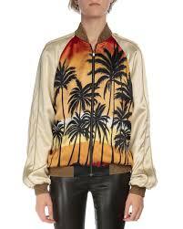 laurent palm tree bomber jacket sleeve tie dye