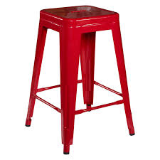 furniture metal backless bar stools in red with modern kitchen