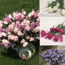 Home Decor Flower Arrangements Beautiful Wedding Bridal 9 Heads Lavender Artificial Peony