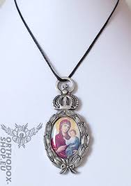 orthodox jewelry necklace with pendant and icon theotokos orthodox shop