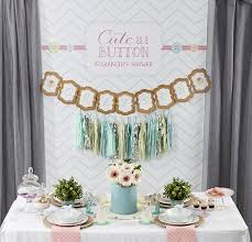 backdrop for baby shower table cute as a button themed baby shower pizzazzerie