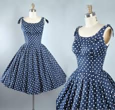 vintage 50s dress 1950s cotton sundress navy blue polka dots
