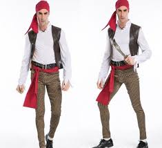 Halloween Pirate Costumes Male Pirate Captain Jack Fitted Clothes Halloween Costume Adults