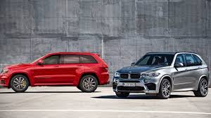 bmw jeep red 2018 jeep grand cherokee trackhawk vs 2016 bmw x5 m youtube