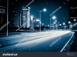 Modern City Light Trails On Modern City Street Stock Photo 156328772