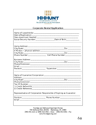business application form template rental application business