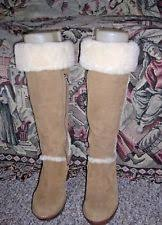 ugg s mammoth boots ugg australia mammoth knee high fringe boots 9 chestnut suede