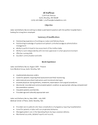 sample labor and delivery nurse resume professional labor and