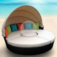 wicker rattan day bed with fabric canopy furniture gold