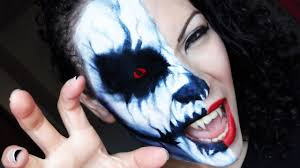 halloween tutorial half skull face youtube