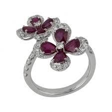 ruby diamond ring white gold flower design ruby diamond ring