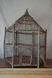 decorative antique green wrought iron bird cage by
