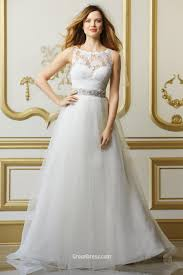 lace illusion neckline bridal gown with organza skirt and beaded