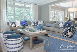 blue and gray living room gray sectional with blue accents transitional living room