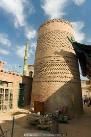 minaret with ornamental brickwork picture miscellaneous turpan