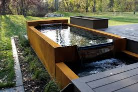 modern water features corten water feature modern landscape other by p2 industries