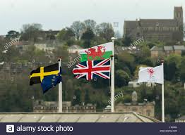 Church Flags Flags Flying At Cardiff Bay In Front Of St Augustine U0027s Church