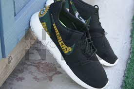 nike roshe run black white green bay packers football custom