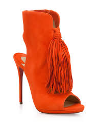 christian louboutin fringed suede peep toe booties in red lyst