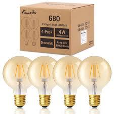 dimmable antique led filament bulbs kedsum 4w g80 globe edison