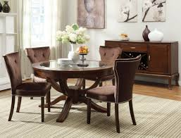 Leather Tufted Chairs Round Vintage Glass Top Dining Tables With Wood Base And Brown