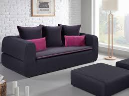 canapé et pouf assorti canapé 3 places convertible en tissu alcina bicolore noir gris