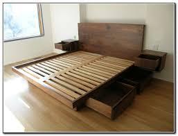King Platform Bed Frame Furniture Wooden King Platform Bed Frame With Drawers Underneath