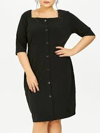 plus size square neck button down dress in black 4xl sammydress com