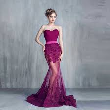2016 trendy sheer fuchsia plum color mermaid evening dresses