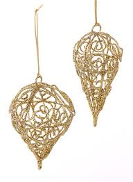 set of 2 gold wire and glitter filigree ornaments
