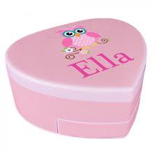 Girls Jewelry Armoire Personalized Heart Shaped Music Jewelry Box