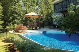 Above Ground Pool Ideas Backyard Semi Buried Above Ground Pools Round Designs